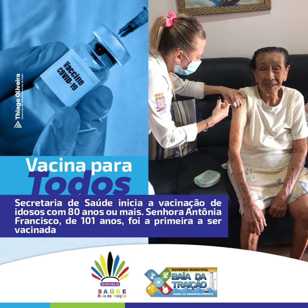 Secretaria de Saúde inicia a vacinação de idosos com 80 anos ou mais.